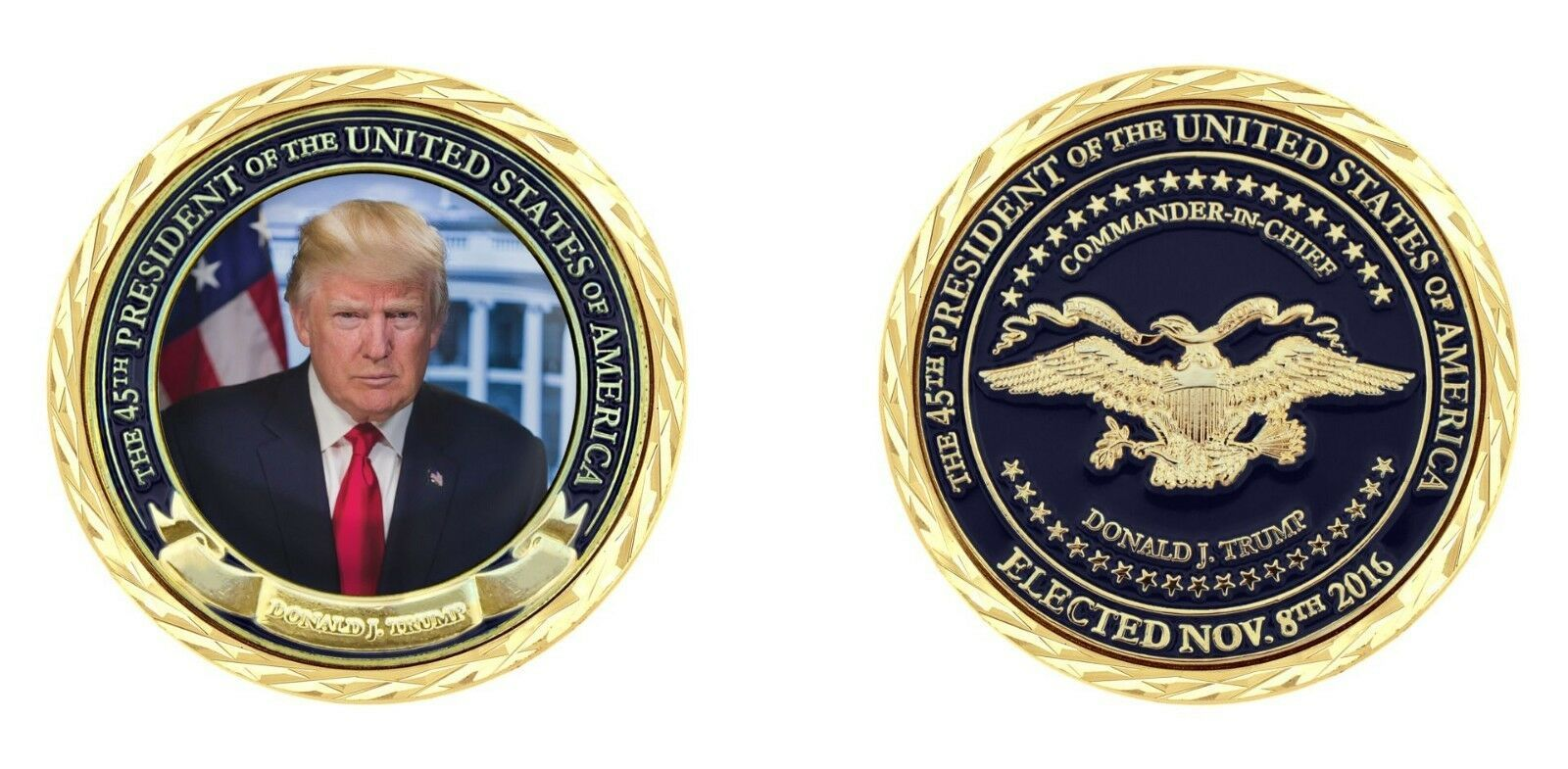 "45TH ELECTED PRESIDENT DONALD TRUMP COMMANDER IN CHIEF 1.75"" CHALLENGE COIN"