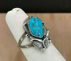 Vintage Navajo Sterling Silver Turquoise Ring Sz 5.5 - $894,87 MXN