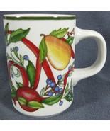 Dansk Holiday Harvest Coffee Mug Cup 10oz Portugal Fruits Ribbon Holly - $27.95