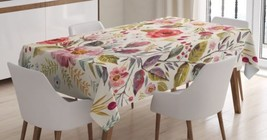 Rose Flower Tablecloth Garden Plant Nature Leaf Dining Table Linen Cover... - $27.43