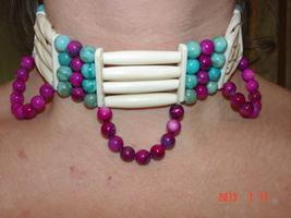 Handmade Bone Choker Necklace w/Turquoise & Pink Iridescent River Shell ... - $49.99