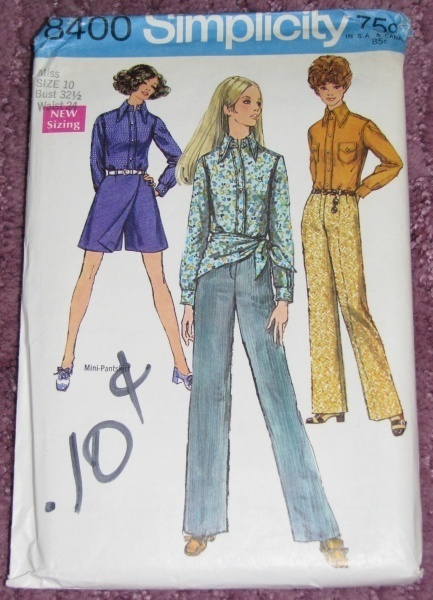 Primary image for Simplicity 8400 Sewing pattern Miss Sz 10 Hiphuggers