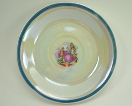 Six Lustre Saucers colonial couple inset Made in Japan - $13.50