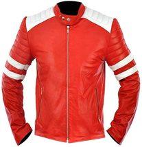 Men's Fight Club Brad Pitt Retro Mayhem Tyler Durden Biker Red Leather J... - $58.00
