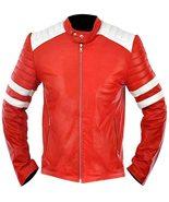 Men's Fight Club Brad Pitt Retro Mayhem Tyler Durden Biker Red Leather J... - $55.10+