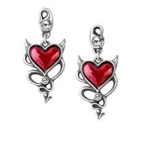 Alchemy Gothic ULFE22  Devil Heart Earrings - $46.00