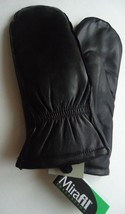 Thermal Insulated Genuine Leather Mittens With Finger Slots, Black - $51.00
