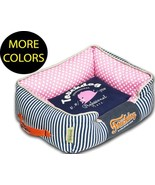 Polka-Striped Polo Easy Wash Rectangular Fashion Designer Pet Dog Bed Beds - $52.49+