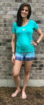 Basic sexy v neck tee green with gold star - $39.00