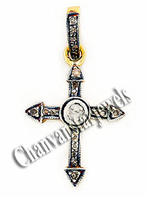 Primary image for Antique/Vintage Look Rose Cut Diamond Sterling Silver Cross Fine Pendant CSJ220
