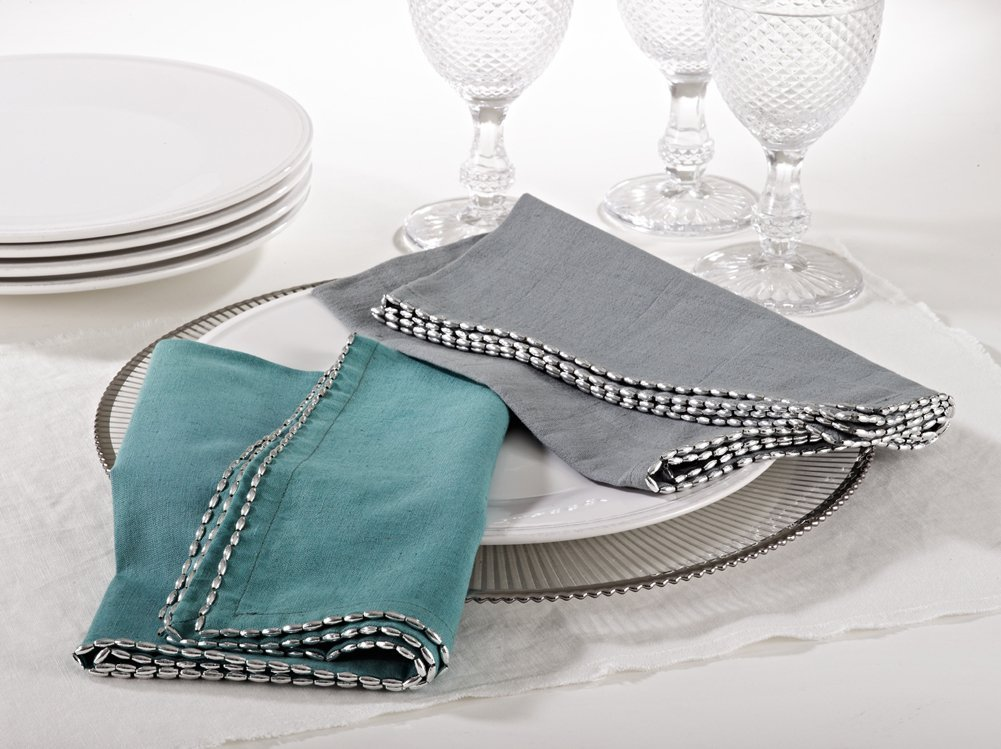 Fennco Styles Unique Beaded Border 20-inch Cotton Cloth Napkins, Set of 4 (Sea G