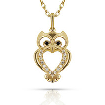 14k Yellow Gold OWL Pendant Black & White Sapphire Jewelry Necklace Chain - $128.68+