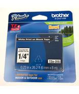 "Brother P-touch TZ White Print on Black 1/4"" TZe-315 - $13.81"