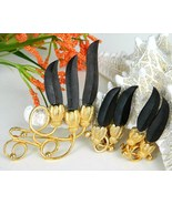 Vintage Wood Brooch Pin Earrings Demi Parure Set Gold Black Flowers - $24.95