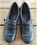 Clarks Size 9 Bendables Slip On Walking Comfort Career Clogs Black Leath... - $24.22