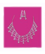 Exotic Clear Crystal Chandelier Choker Necklace Earring Set New - $49.99