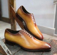 New Pure Handmade Tan Leather & Brown Shaded Lace Up Dress Shoes For Men's - $169.99