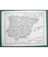 1844 MAP Original Antique - SPAIN Portugal Baleary Baleares - $9.45