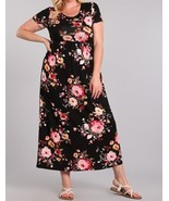 Plus Size Maxi Dress, Plus Size Maxi Dresses, Black Floral Plus Size Dress - €48,53 EUR