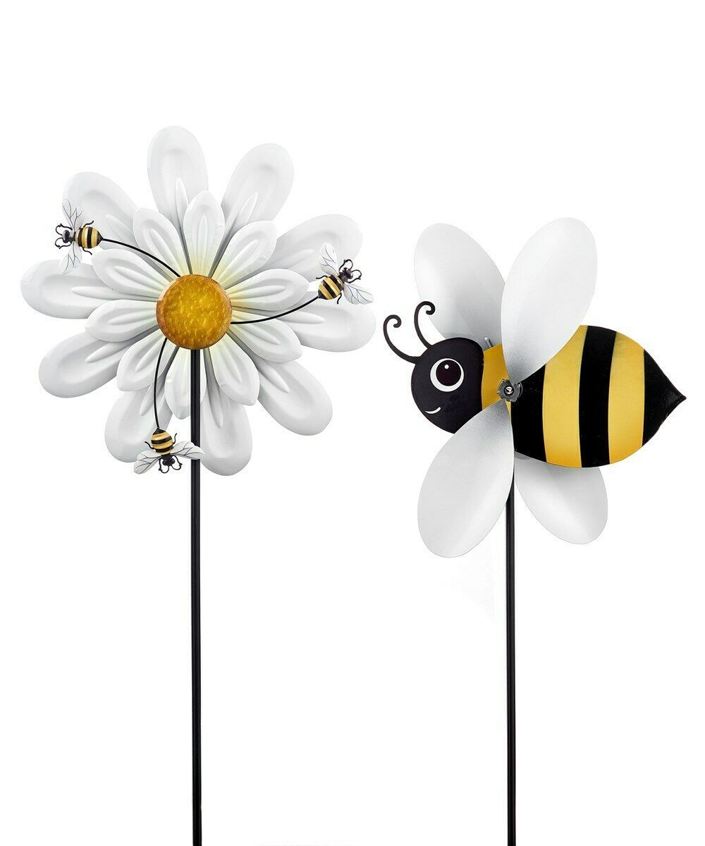 "Set of 2 -  51.6"" High Bee & Daisy Design Windspinner Garden Stakes"