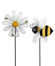 "Set of 2 -  51.6"" High Bee & Daisy Design Windspinner Garden Stakes - $257.39"