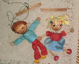 Vintage Pelham Wooden Puppets Boy Girl Fair Condition Marionettes needs ... - $49.49