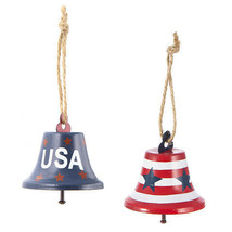 Darice Patriotic Bell: Metal, 2.5 x 2.63 inches, 2 Assorted Styles w - $6.99