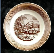 vintage CURRIER & IVES PIE PLATE brown AMERICAN FARM SCENE royal china - €13,86 EUR