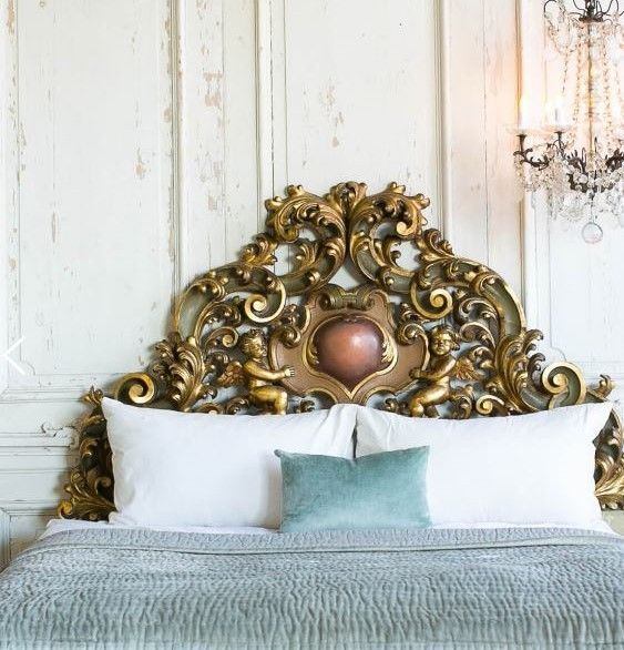Antique Chic Queen Size Cherubs/Angels Headboard French Baroque 64''W x 63''H