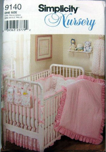 Simplicity 9140 Nursery Quilt, Bumpers, Dust Ruffle, Pillow, Diaper Stacker New