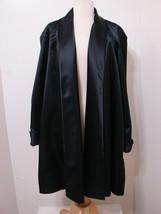 MISS ELLIETTE Evening Swing Coat Vintage Black Satin Open Front Mint XXL - $269.99