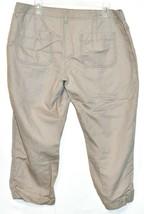 Old Navy Women's Tan Brown Linen Cotton Faux Cargo Carpi Cropped Pants Size 14 image 2