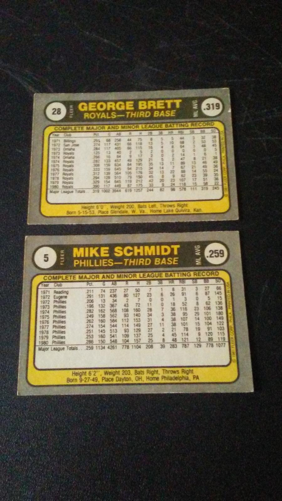 1981 Fleer Mike Schmidt and George Brett image 2