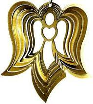 3 in stainless steel brass Angel USA 3D hanging garden wind spinner, spinners - $9.00