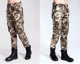 Men's Cotton Outdoor Causal Multi-pocket Loose Camouflage Cargo Long Cam... - $40.80