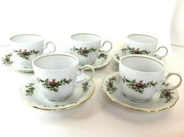 4 Sets Johann Haviland MOSS ROSE Traditions Fine China Coffee/Tea Cup Saucer Vtg - $29.69