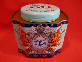 FORTNUM and MASON TEA Tin QUEEN ELIZABETH GOLDEN 50 JUBILEE Souvenir Col... - $14.95