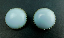Vintage Signed Coro Earrings Mid Century Blue/Gold Tone Round Button    ... - $24.49