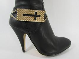 Mujer Moda Joyería Bota Brazalete Oro Placa Cruz Cadenas Zapato Bling Charm image 1