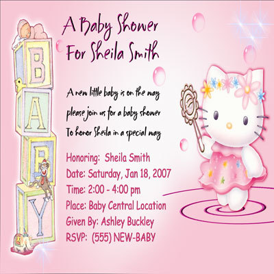 Hello Kitty Carriage Teddy Bear Custom Photo Girls Baby Shower Invitations Cards
