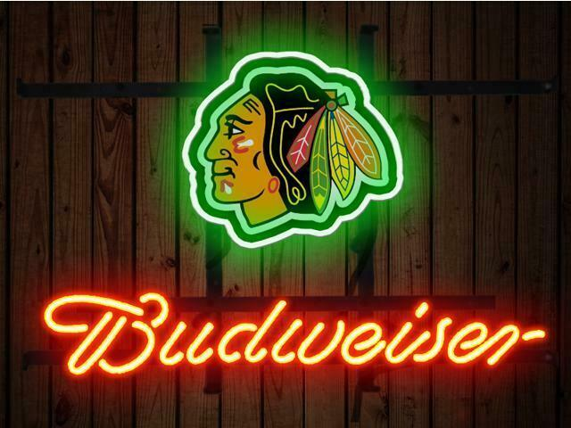 "Budweiser Chicago Blackhawks Bud Neon Sign 14""x10"" Beer Bar Light Artwork Man"