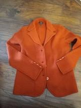 Talbots 100% Merino Wool Dark Orange  Knit Sweater Button Front Sz M  - $26.68