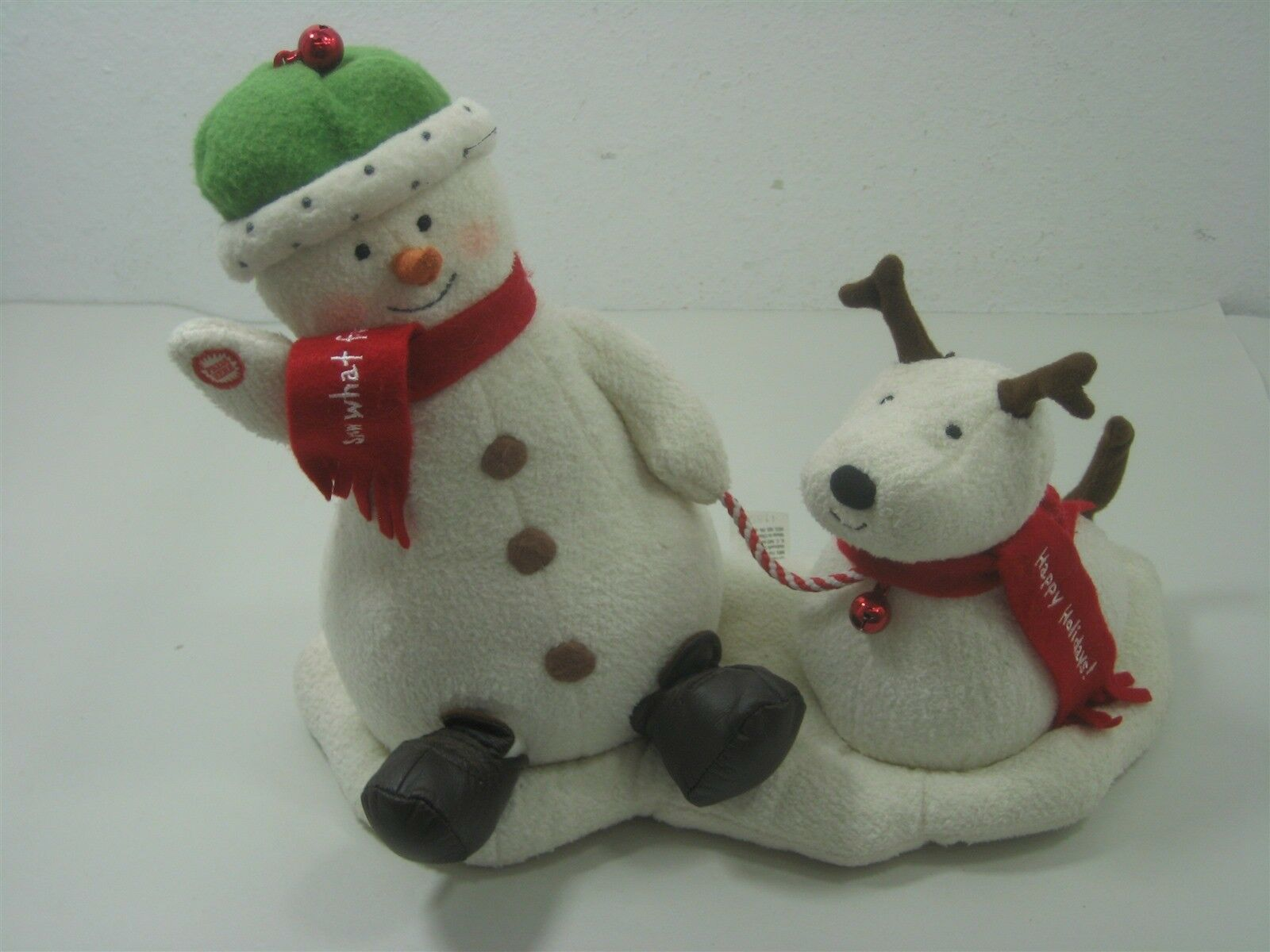 2004 Hallmark Jingle Pals Plush Snowman with Dog Animated Sings Jingle Bells