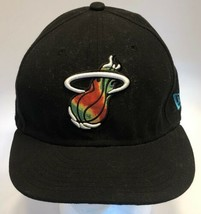 New Era Hardwood Classics Miami Heat Black Baseball Hat 3D Tri Color Log... - $19.59