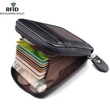 Men's Wallet Genuine Leather Credit Card Holder RFID Blocking Zipper Thin Pocket - $15.00