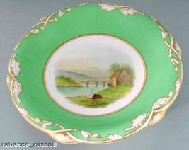 Scalloped Dish Handpainted Scene Green Rim Gilt - $35.67