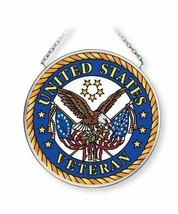 "United States Veteran Sun Catcher AMIA 3.5"" Round New Hand Painted Glass  - €17,12 EUR"