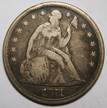 1871 Seated Liberty Silver Dollar $1 Coin Lot# MZ 3950