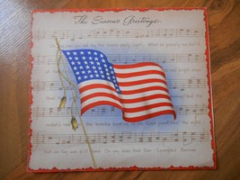 Old Vintage Greeting Card Seasons Greetings New Year American Flag Menu ... - $9.99