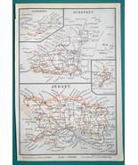 1897 BAEDEKER MAP - UNITED KINGDOM Channel Islands  Guernsey Jersey Sark - $7.65